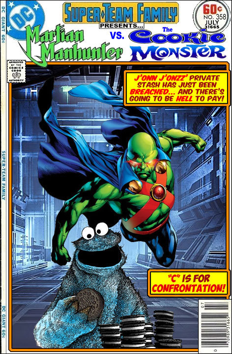 iamacilius:  The Martian Manhunter vs. The Cookie Monster, from Super-Team Family.