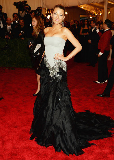 Blake Lively in Gucci Best Dressed. Costume Institute Gala for the 'PUNK: Chaos to Couture' exhibition at the Metropolitan Museum of Art 2013. May 7th, 2013 8:53  P.M. GMT.