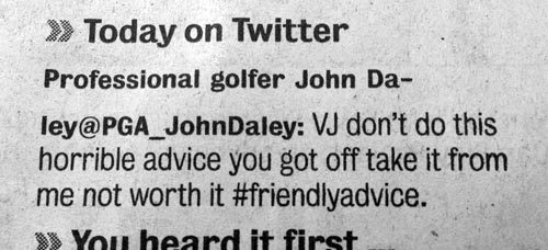 Golfer John Daly's name and Twitter handle misspelled.