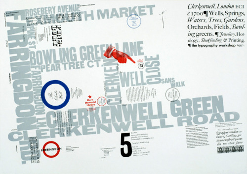 "typeworship:  I Love Clerkenwell Today is the start of Clerkenwell Design Week, the UK's leading independent design festival, in the heart of London. Over 60 showrooms will host presentations, workshops and product launches across a broad variety of design disciplines. Clerkenwell is also the historically home of London's type foundries, there was even a street called Type Street, near Caslon's foundry. At it's height all of the world's major typefounders had a presence here, there were even two on my street alone. Fontsmith have a popular typeface named after it and today, Clerkenwell is home to many of London's design agencies, furniture stores and more architects per square mile than anywhere else on the planet. Above is one of my favourite designs, a typographic map of the area. ""Broadside 5"" is a letterpress print by Alan Kitching, master letterpress typographer and printmaker. This map now serves as an historical reminder of the changes in the area, since being printed in 1992 . Neither ""Oysters, Crabs and Lobsters"" nor ""Bric-a-brac""are available any more on Exmouth Market."