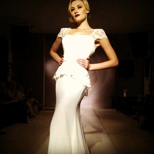 Bridal show #bride #wedding #dress #white #blonde #model #suzannenevell #catwalk #pose  (at Tower of London)