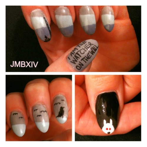 a-song-of-ice-and-fire:  My nails took the black click for my gameofthrones blog