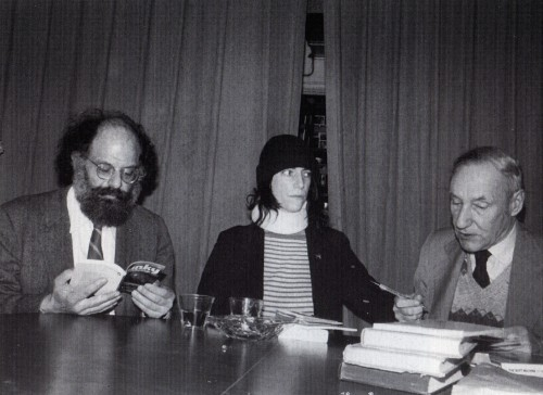 "doingthezombierama:  ""Patti with Allen Ginsberg and William Burroughs at Gotham Book Mart, 1977."" Photo by Joe Stevens, from Patti Smith by Victor Bockris."