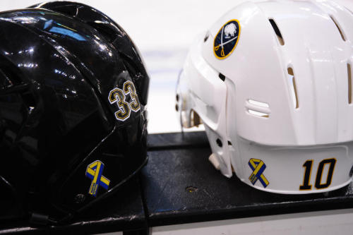 Close up of Chara & Erhoff's helmets