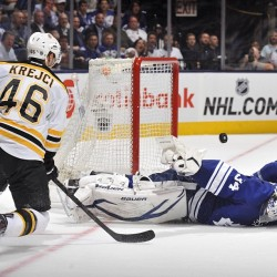 nhlbruins:  Krejci's hat trick powers Bruins to a 4-3 victory, to extend the series lead 3-1 #nhlbruins