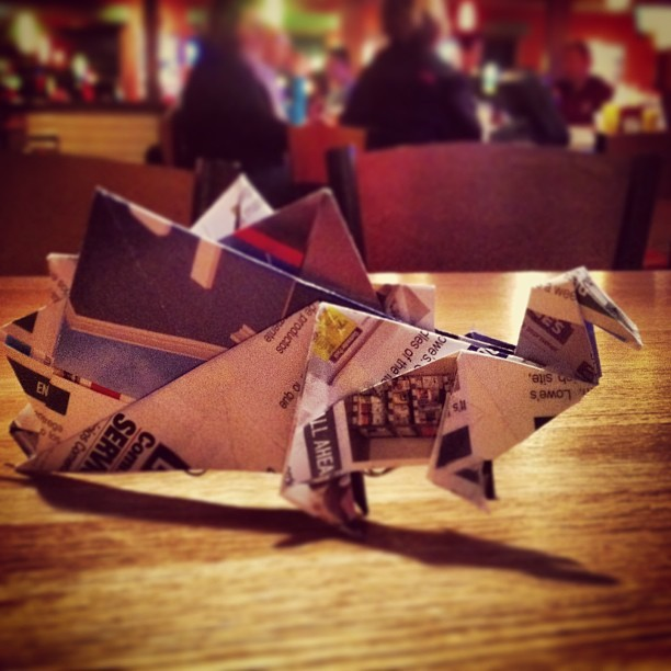 #Origami #Stegosaurus that I made for Sarah :) #dinosaur (at Applebee's Neighborhood Grill)