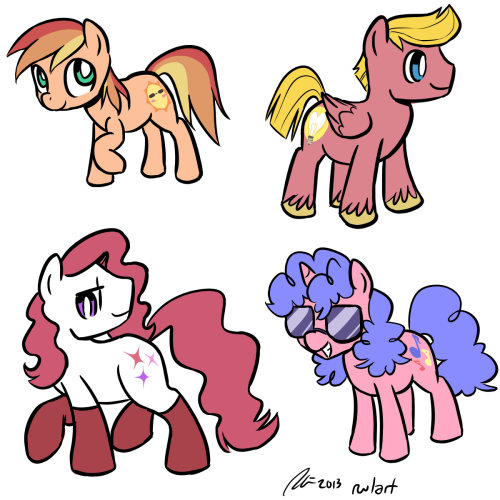 rwlart:  I just wanna keep designing ponies based on randomly generated names. Here we have Summer Blush, Tendershine, Satin Spice, and Melody Pop. Not all the names it gave me were winners. Here are some names that didn't make the cut: Peachy Pants, Night Chuckles, Precious Fizz, Tootie Bean, and Cuddle Jamboree.  These are some really great looking designs. Robin is fantastic at designing characters, for sure. I'd definitely recruit her for any character design help I might or might not need.