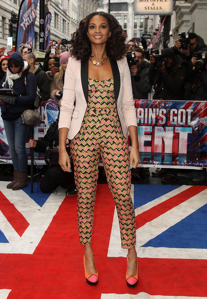 Get the Look: Alesha Dixon'sBritain's Got Talent London Auditions H&M Contrast Lapel Blazer, Aqua April Bodice, Armour Trousers, and Charlotte Olympia Adriana Pumps