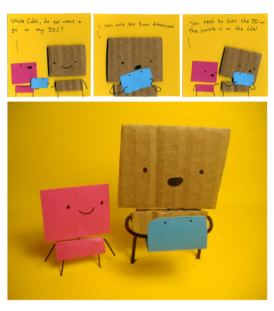 Cute cardboard guys learn how a 3DS works More cardboard comics over at Philippa Rice's My Cardboard Life. BUY Nintendo 3DS and 3DS XL consoles, upcoming releases