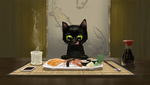 Kitty & Sushi by Lizzie Nichols