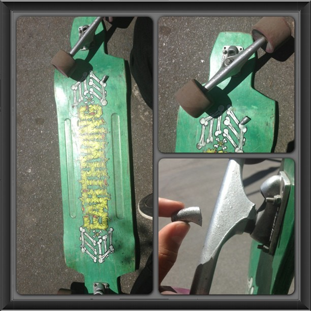So I was carving on my #earthwing and this shit happened. So @gullwingtruckco or anyone, can you help explain to me wtf?!?! They just, snapped!! Because I simply can not fathom this. Are these trucks that unreliable?!? This literally just fucked up my entire day of riding! #gullwing #trucks #wtf #mad #pissed #off #broke #broken #longboard #skate #snap #crash #riding