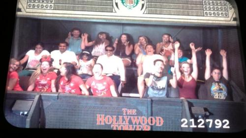 Took over the top row of the Tower of Terror with Vince, Kristen, Courtney and Jay.
