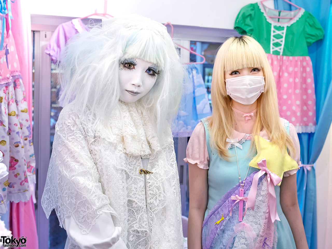 Japanese shironuri artist Minori & fairy kei designer Moco at the Strawberry Planet popup shop in Harajuku this weekend.