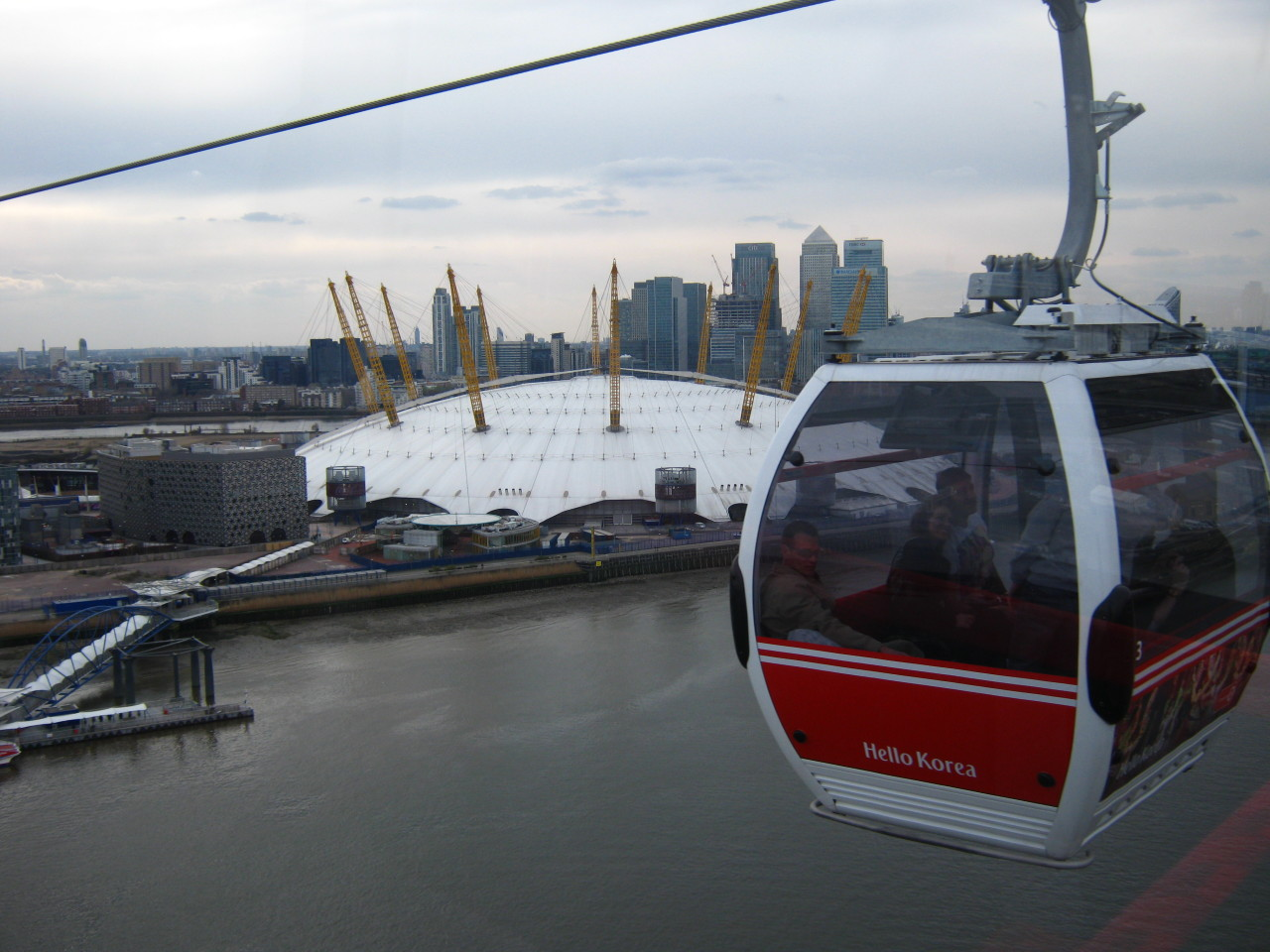 I went on that cable car thing from Royal Victoria Dock to the O2 Arena earlier today… It was OK, but for the price they charge they could slow the thing down a bit…  It was cool to see the Docklands and beyond from the air, but I couldn't help but think that it would be so much more fun to go on it in gale-force winds.
