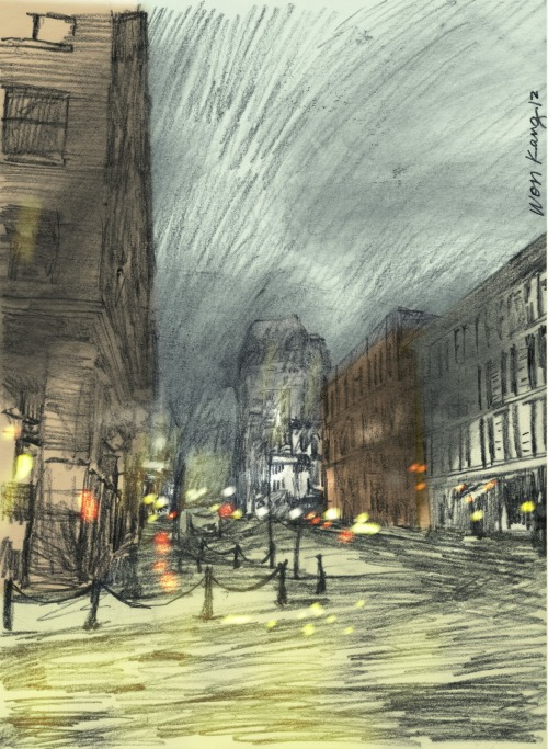 Snow Blizzard On Water Street, 2012 a sketch by Won Kang, via his blog.