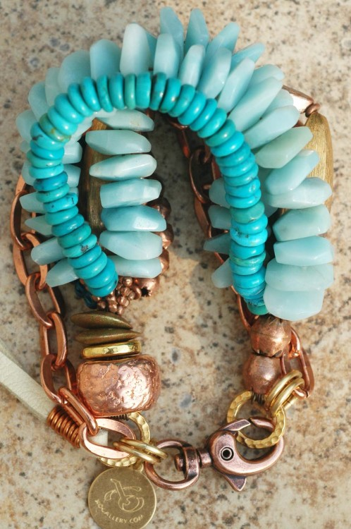 Hercules Bracelet: Blue Amazonite Disc, Turquoise and Copper Multi-Media Statement Bracelet Contact me about this bracelet www.xogallery.com