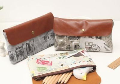 Vintage Europe Travels Pouch / Pen Case Designs: A | B | C | D | E | F | G | H | I | J Type: Multipurpose Pouch / Pen Case Length: 19 * 11 * 2 cm So.. this is an amazingly pretty pouch.  Use it as a going-out-pouch, stuff-everything-in-pouch, cosmetics pouch, pen case, etc. Comes in 2 series. Each pouch is not like the other, and there's only 1 of each design. Yep, ONE. Great texture, and amazing colours on PU material. Under the flap (which has really nice under-lining for touching) is a zip, and there's one big compartment. Plenty of space for your stuff.  10 designs available.    SGD$12.00 each Mailing List Members: $9.80 each  Detail: