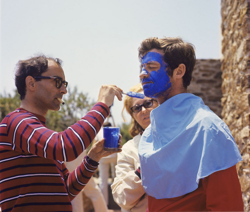 trasho:  Jean-Luc Godard and Jean-Paul Belmondo during production on Pierrot le Fou (1965).