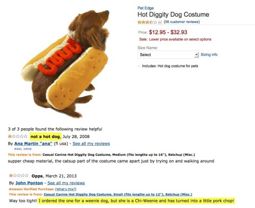 Angry Amazon Reviews of Adorable Dog Costumes Ummm… I asked for cole slaw.