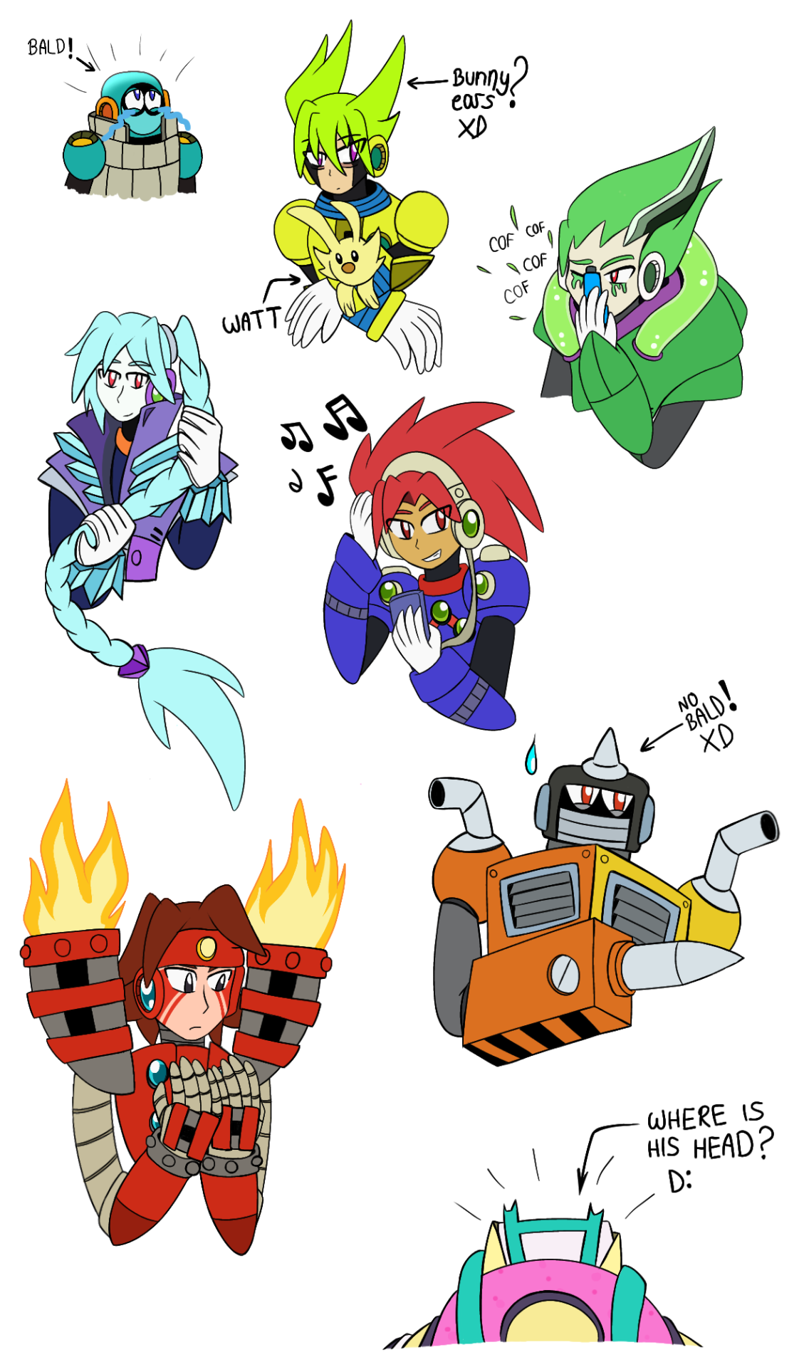 "What if the Robots from Megaman 11 don't have their helmets? (My version)1. Bald Block Man :'v (Based on this thing ""WHERE IS MY BLOCKY-Y-Y?!"")   2. Bunny Fuse Man 🐰3. Acid Man with asthma :v4. Blast Man with headphones 🎶5. Fabulous Tundra Man ❄️6. Karate Man Torch Man? 🔥7. NO BALD Impact Man XD8. Bounce Man without head? 😱—¿Qué sería si los Robots de Megaman 11 no tuvieran sus cascos? (Mi versión)1. Block Man Calvo:v   (Basado en esta cosa ""WHERE IS MY BLOCKY-Y-Y?!"")  2. Conejo Fuse Man 🐰3. Acid Man con asma :v4. Blast Man con audífonos🎶5. Fabulouso Tundra Man ❄️6. ¿Torch Man Karateka? 🔥7. Impact Man NO CALVO XD8. ¿Bounce Man sin cabeza? 😱 #megaman 11#rockman 11#robot masters#block man#fuse man#acid man#blast man#tundra man#torch man#impact man#bounce man#doddles#sketches#helmetless#without helmet#headcannon"
