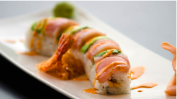 prettygirlfood:  Ebiten Roll: Tempura Shrimp, Cucumber, Spicy Mayo, topped with Hamachi Toro, Avocado and more Spicy Mayo @ Harbor Sushi