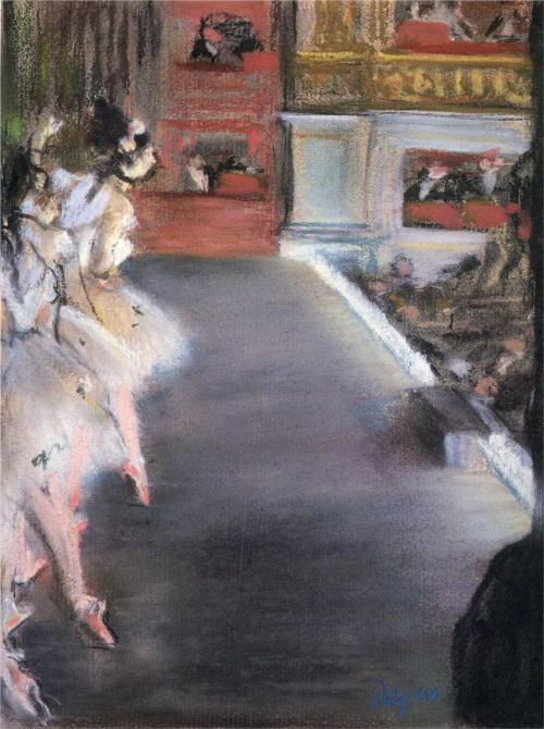 books0977:  Dancers at the Old Opera House (c.1877). Edgar Degas (French, Impressionism, 1834-1917). Pastel. National Gallery of Art, Washingon, DC. At the ballet Degas found a world that excited both his taste for classical beauty and his eye for modern realism. He haunted the wings and classrooms of the magnificent Palais Garnier, home of the Paris Opéra and its Ballet, where some of the city's poorest young girls struggled to become the fairies, nymphs and queens of the stage.