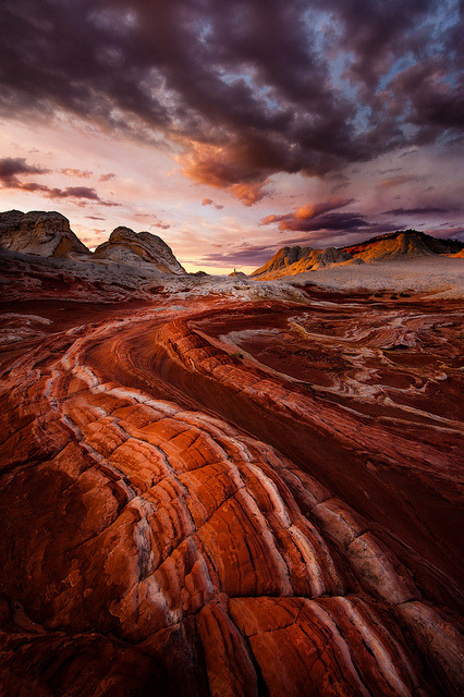 packlight-travelfar:  Fire in the Valley ~ Page~ Arizona ~ White Pocket by Dan Ballard Photography on Flickr.