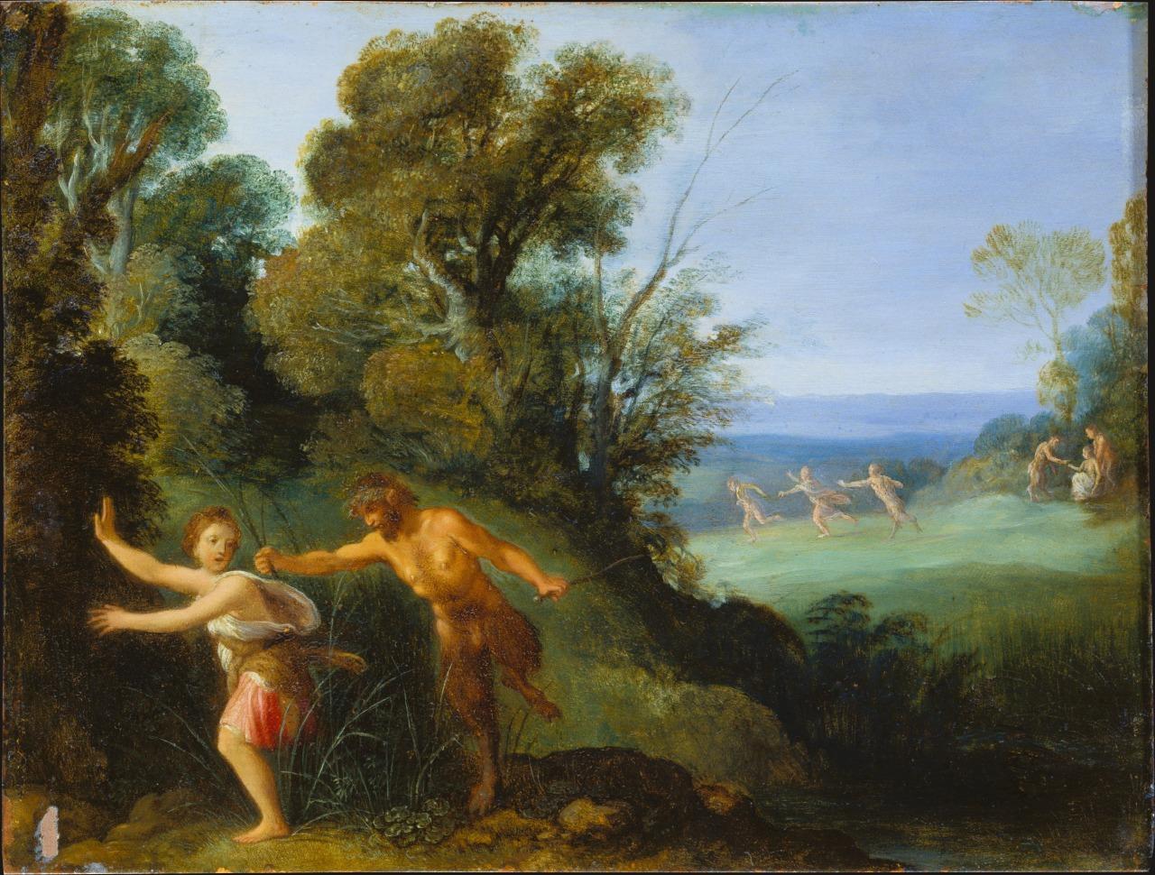 Adam Elsheimer (German ,1578 - 1610) Pan Et Syrinx ,1610 #upl#va#art#painting#oil painting#Adam Elsheimer