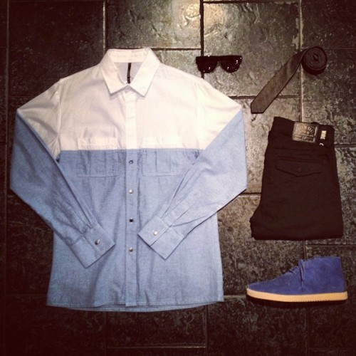 "BleeckerSt.com Men's Outfit of the Day ""Business at the Top, Party at the Bottom"" Clae Strayhorn Midnight Suede: http://www.bleeckerst.com/collections/kicks Kill City Black Chino: http://www.bleeckerst.com/collections/mens-jeans-and-pants Black Denim Tie: http://www.bleeckerst.com/collections/accessories-1 Contego Kipling Sunnies: http://www.bleeckerst.com/collections/mens-hats-and-eyewear Mullet Shirt: In Store only"