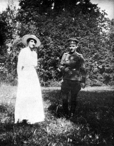 Grand Duchess Tatiana and an officer of the guard under house arrest at the Alexander Palace: 1917.