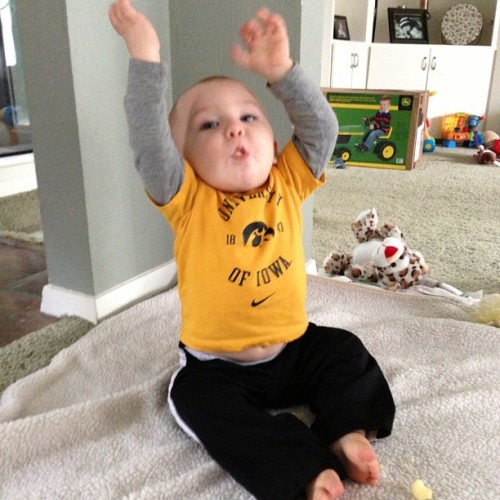 "Taught him to signal, ""Touchdown, Hawkeyes!"" Now, who want to teach the Hawkeyes to score touchdowns?"