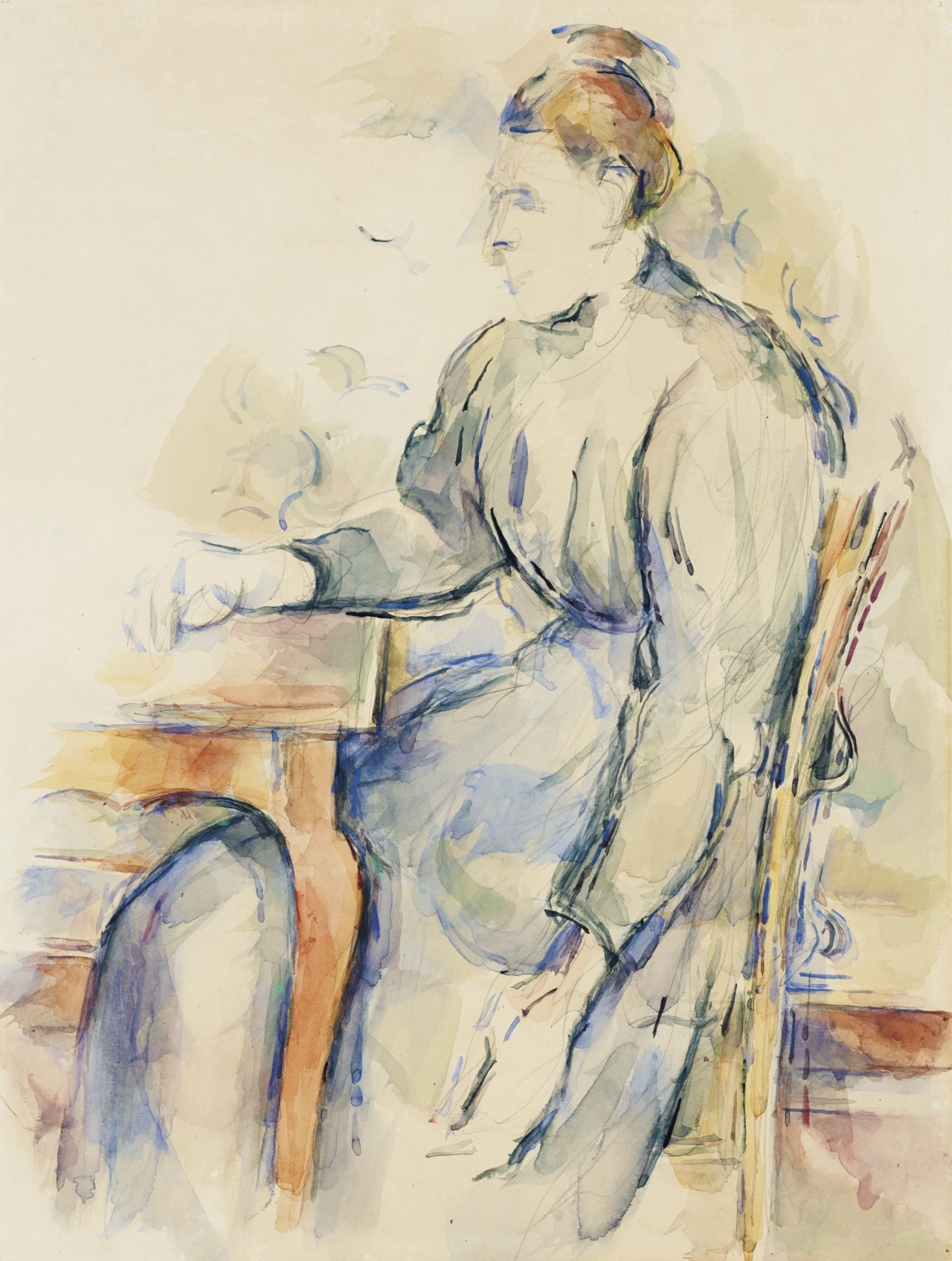Paul Cezanne, Femme Assise (Madam Cezanne), 1902-04, Watercolour and pencil on paper