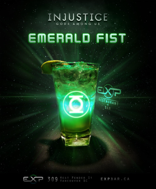 "Emerald Fist (Green Lantern / Injustice: Gods Among Us cocktail) Ingredients:1/2 oz melon liquor1/2 oz green sourpuss1/2 oz limoncello1/2 oz lemon juice1/2 oz simple syrupSprite Directions: Shake all alcohol, put on rocks in a tall glass, fill with sprite. Garnish with Lime. Begin focusing Willpower.  ""In brightest day, in blackest night. No evil shall escape my sight. Let those who worship evils might, beware of my power. The Green Lantern's light!"" Drink created by EXP Restaurant + Bar. Art by Julianna Kolakis."