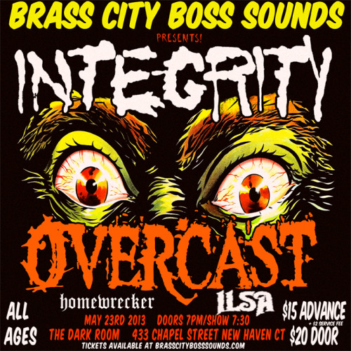23wolves:  Tickets On Sale Now! http://brasscitybosssounds.limitedrun.com/shows/26-integrity-overcast-and-guests-at-dark-room-in-new-haven