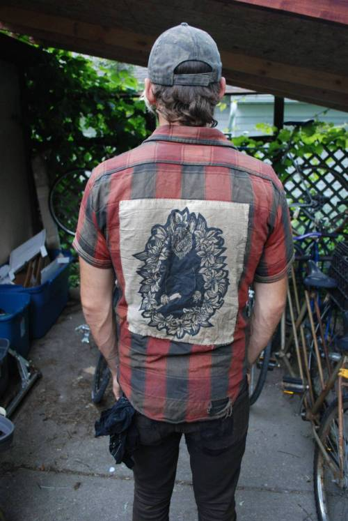 Valentine: Pet Cemeterya friend wearing a beat up printof my linocut as a backpatch2011, Izzy Jarvis
