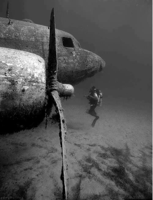 natycarrera:  Plane under the ocean.