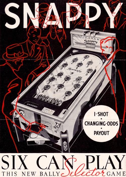 Six can play (by PopKulture) Vintage advertising brochure for Bally Manufacturing's 1936 Snappy.