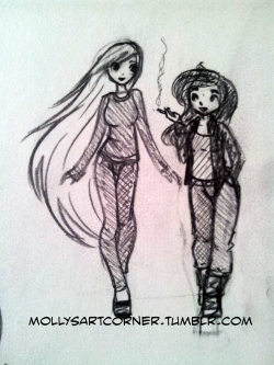 mollysartcorner:  Doodles. The two main characters from the comic I'm working on. Just one panel to go, but it's a biggun. Oh, to give you some insight these girls are sixteen and eight-teen, and I would guess around 5 ft 9 (180 cm) and 5 ft 4 (165 cm)? I'm not so good at guesstimating height.