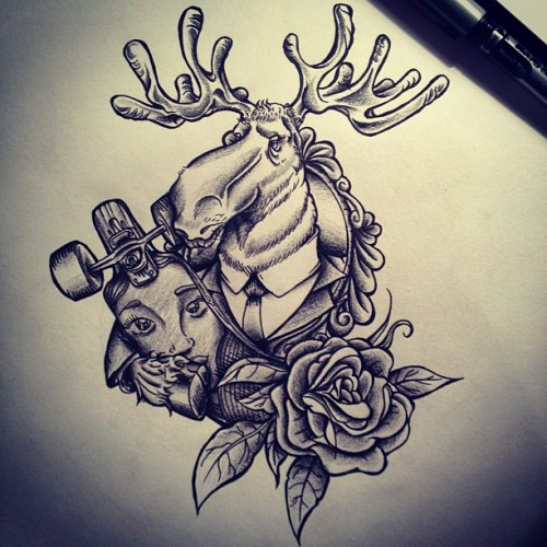 Longboard Moose :) #ink #tattoo  #tattooing  #tattoodraw #drawing #deaw #moose #longboard
