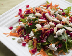 findvegan:  Pomegranate salad with carrots and almonds
