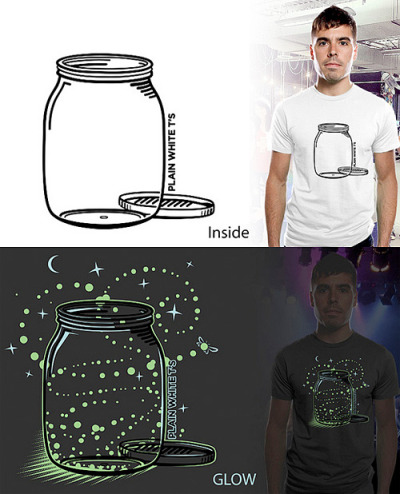 "The Empty Jar of Fireflies - by Brandon Ortwein Inside/Outside in the light it is just a plain empty jar. Simple and beautiful. When it gets dark the Glow Ink reveals the Fireflies that give life to the ""empty jar"". I hope you like it. Submitted to Threadless for the Plain White T(ee)s design challenge. VOTE NOW!"