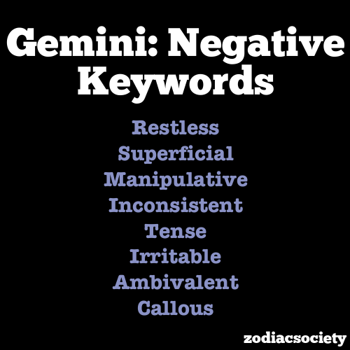 zodiacsociety:  Gemini Negative Traits / Gemini Positive Traits