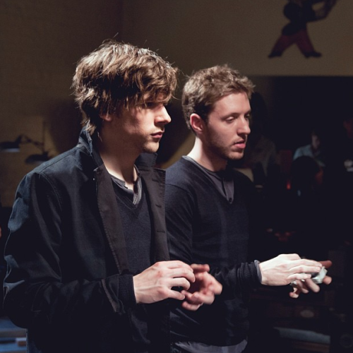 @bucktwins: Jesse Eisenberg and Dan Buck rehearsing before the big shoot. #NowYouSeeMe in theaters May 31st.