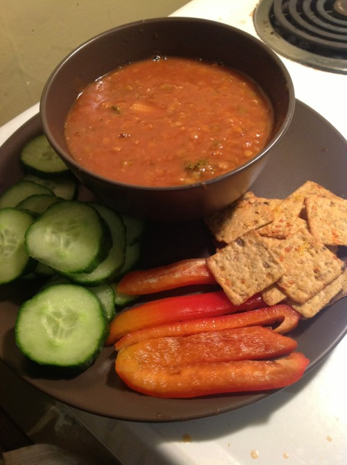 Yesterday's dinner… Vegetable lentil soup, veggies, and sweet potato wheat thins with hummus.
