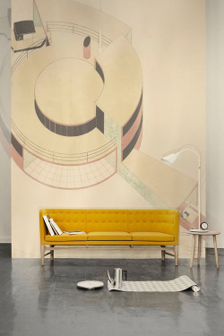 Arne Jacobsen drawing and yellow sofa (husligheter.se)
