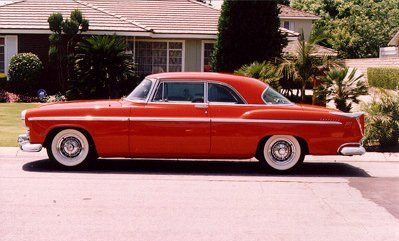 55 Chrysler 300, model name is actually C-300. The 56 would be called 300B. This is the first production car with 300 horsepower. Power came from a solid lifter 331 cu. in. Hemi with dual quads and dual exhaust. This maybe the first production muscle car…… GTO my a##. More on these and how they dominated NASCAR later.