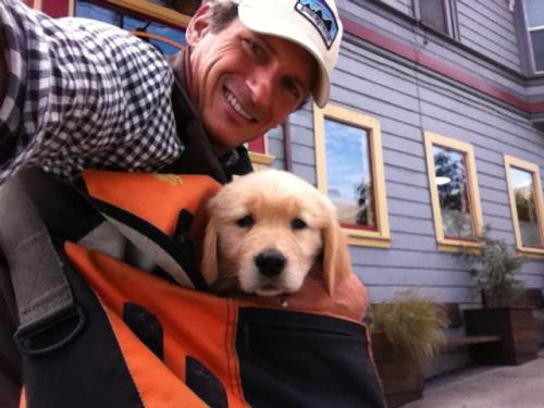"A buddy and his new ""son"" Col, a few blocks from Timbuk2 HQ"