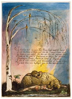 opinion-moment:  centuriespast:  William Blake (1757–1827)America, a ProphecyCopy ALambeth, 1793 (i.e., 1795) The Morgan Library  For those who can't read the passage: In thunders ends the voice. Then Albions Angel wrathful burntBeside the Stone of Night; and like the Eternal Lions howlIn famine & war, reply'd. Art thou not Orc, who serpent-form'dStands at the gate of Enitharmon to devour her children;Blasphemous Demon, Antichrist, hater of Dignities;Lover of wild rebellion, and transgresser of Gods Law;Why dost thou come to Angels eyes in this terrific form?