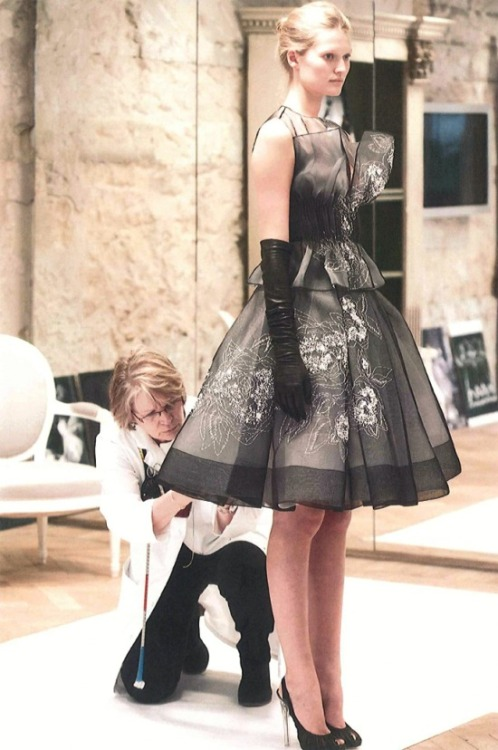 hautekills:  Toni Garrn at the fitting for Christian Dior haute couture s/s 2012, photographed by Sophie Carre