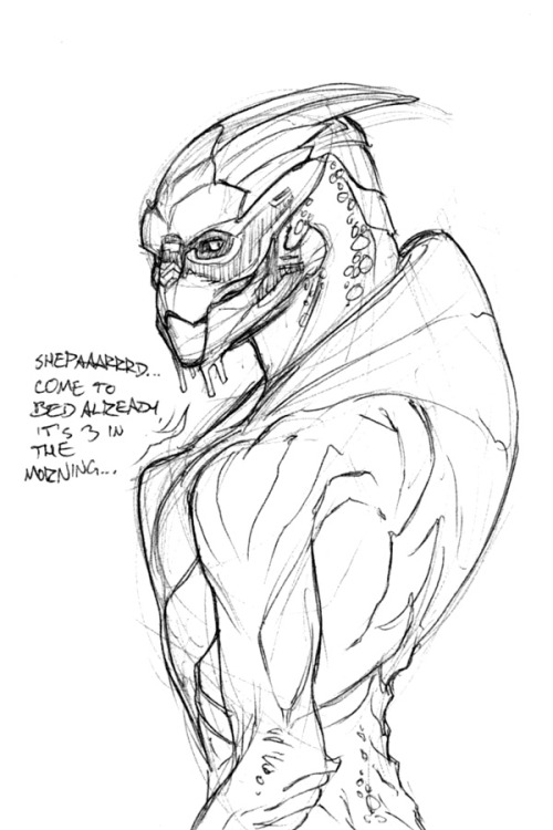 thinking of alternate approaches to nekkid turians y'know how it is (edit) oh shit I forgot his mandible tattoo that's it, I'm fired from the Garrus fan club. :<